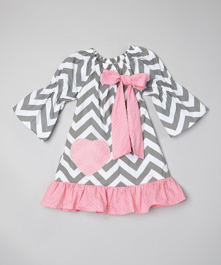 Look at this #zulilyfind! Sweet Cheeks Gray & Pink Chevron Heart Dress - Toddler & Girls by Sweet Cheeks #zulilyfinds