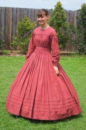 Inspired by 1860s working class women's fashion. A great costume for a Civil War reenactment!