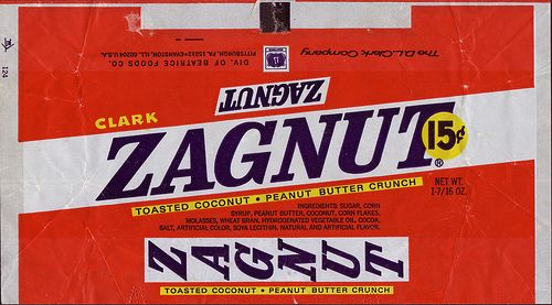 candy from the 70s | Zagnut Candy Bar Wrapper - 15 cents - Late 60s Early 70s