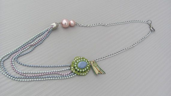 Unique Pink Jewelry , Statement Spring Necklace , Handmade by CANDYlook4u
