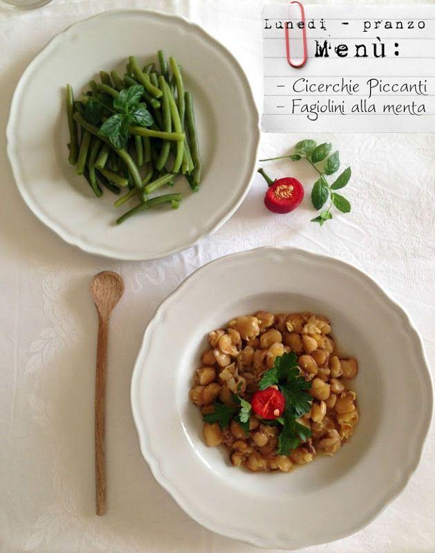 Cicerchie piccanti e fagiolini alla menta (primo giorno di dieta)