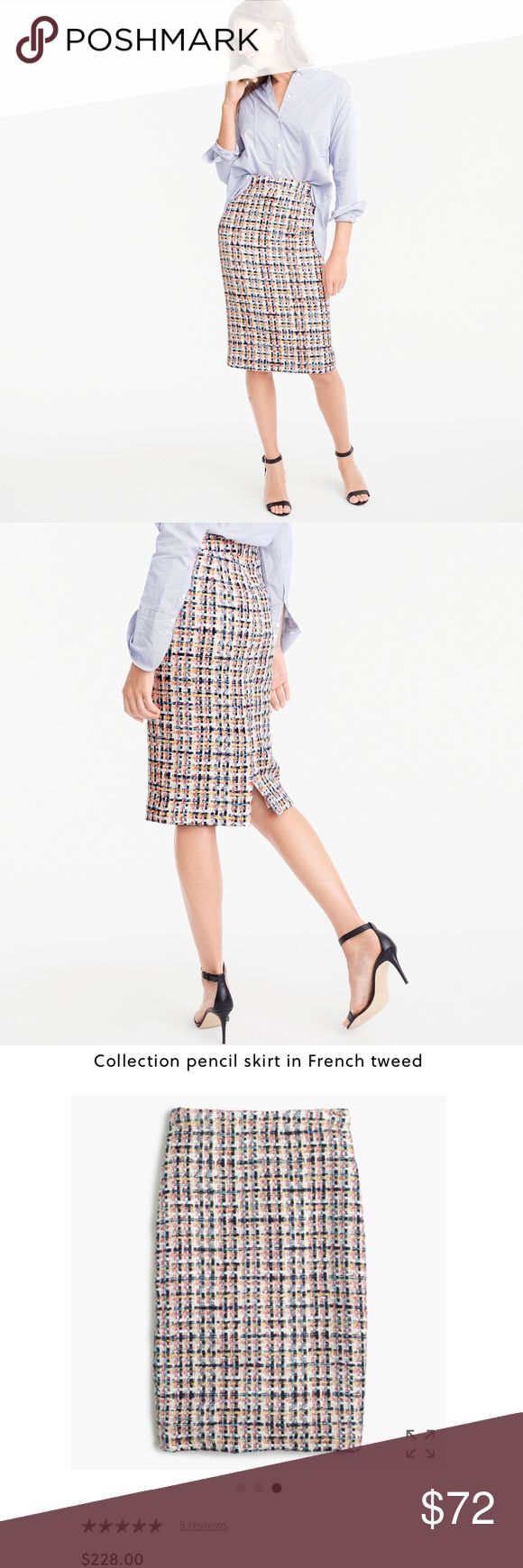 {J. Crew} Collection Pencil Skirt in French Tweed This pretty pencil skirt is crafted in metallic-flecked tweed from Jules Tournier, a French mill that's known for producing some of the finest fabrics in the world (est. 1865). There's also a matching lady jacket for even more amazing outfit potential.  Cotton/acrylic/polyamide/poly/other fibers. Dry clean. Import. Select stores. Item G2085. Condition: New without tags! J. Crew Skirts Pencil