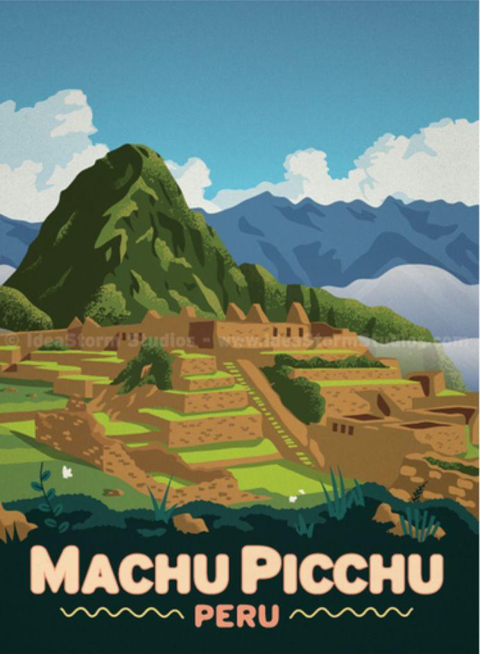 Art Deco Travel Posters Lovely Vintage Retro Holiday Tourism Machu Picchu Puru