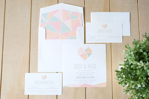 Printable Geometric Heart themed wedding invitation set. This invitation comes at 140mm x 140mm, RSVP card and Wishing Well card comes at