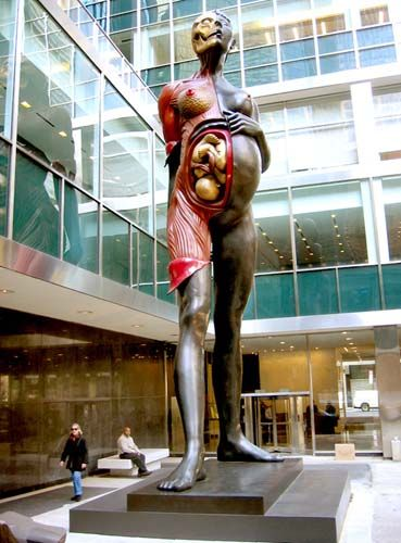 "Damien Hirst, pregnant mother.  Why are other countries so much cooler than America?  This type of art would most likely be banned in America for being ""offensive""."