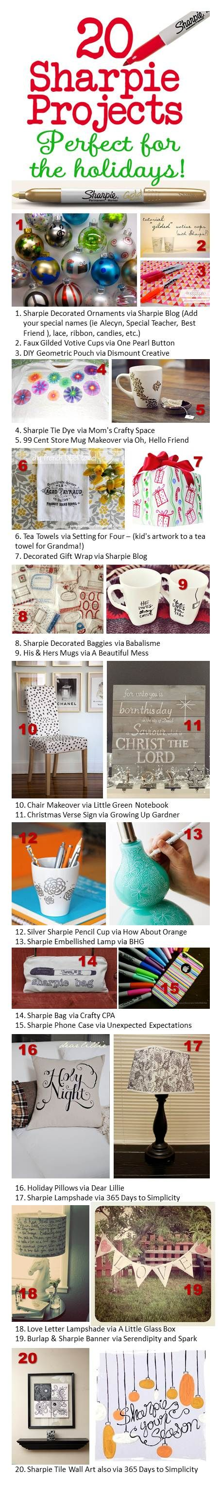 20 Sharpie Projects - Has links to the individual projects.  Great ideas!