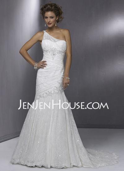 Wedding Dresses – $133.79 – Sheath/Column One-Shoulder Court Train Satin  Lace W…