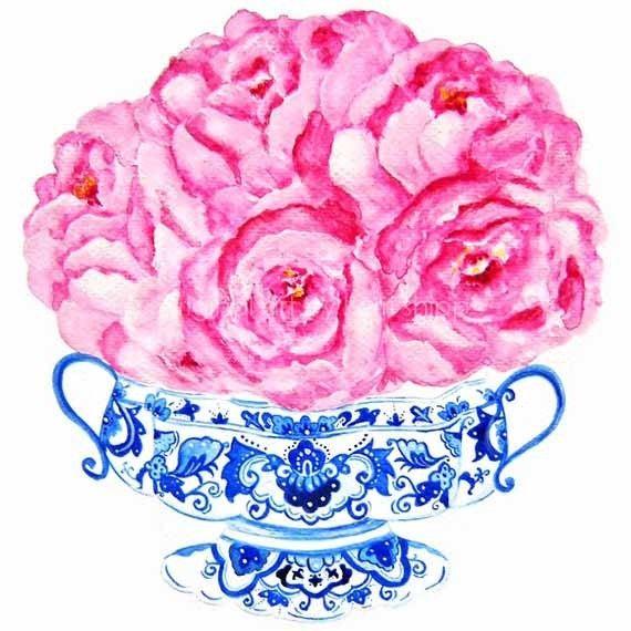 Pink Floral Watercolor - Bouquet in Flow Blue 8x10. $25.00, via Etsy.