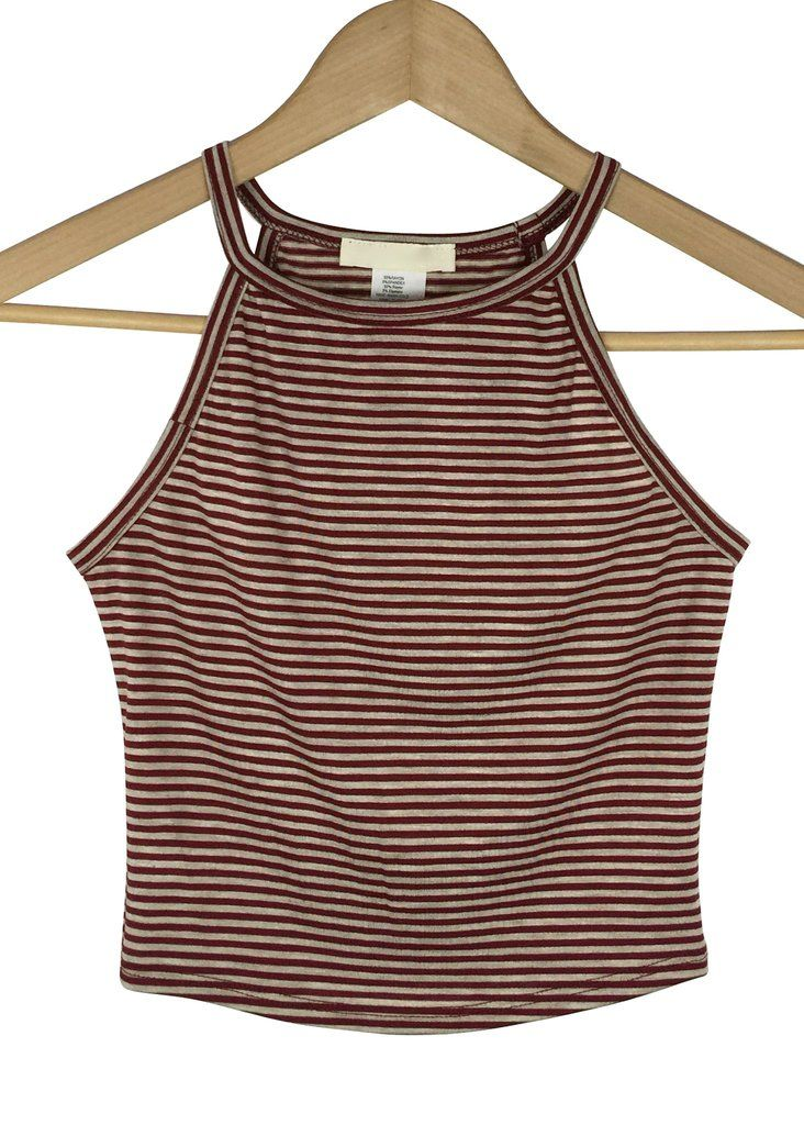 sussie striped crop top (burgundy and beige)