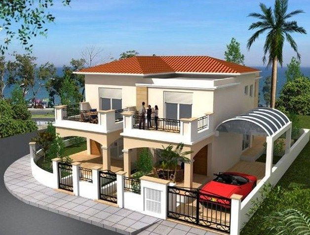 Fachadas de casas de dos pisos en esquina