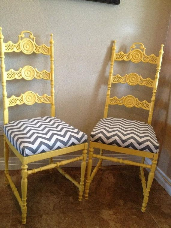 Cast Iron Chairs, Yellow With Grey U0026 White Chevron Patterned Comfy Cushions  On Etsy,