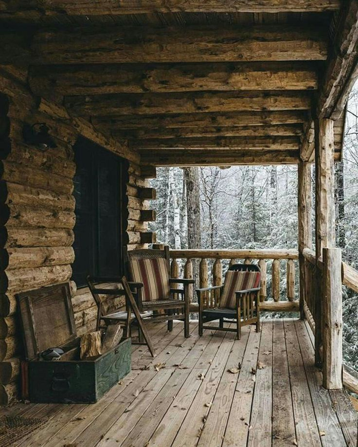 A cabin porch in it's simplest form!