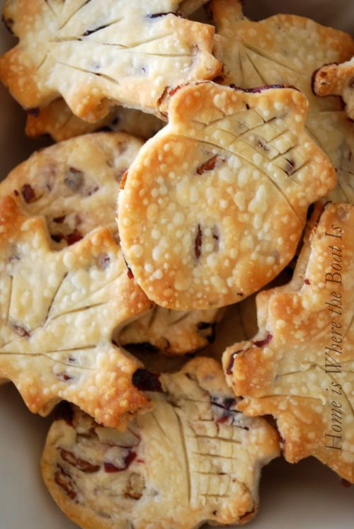 pie crust with toasted pecans and cranberries, cut with cookie cutters: Home Is Where the Boat Is
