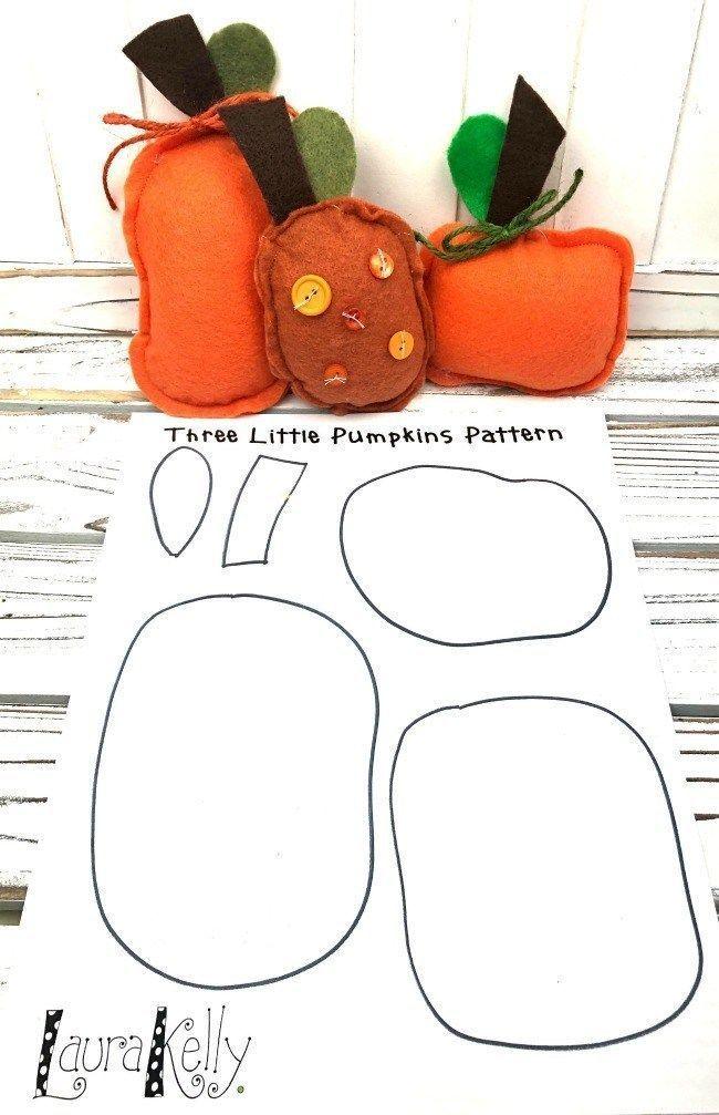 Felt Pumpkin Decorations With Free Printable Pattern Laura Kelly S Inklings Felt Pumpkins Pumpkin Decorating Pumpkin Patterns Free