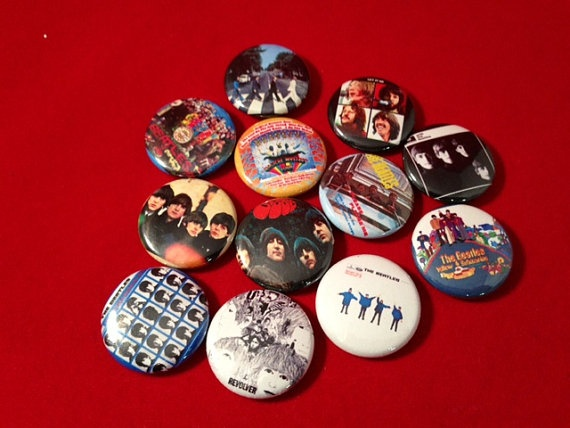 BEATLES Album Cover Buttons  Set of 12