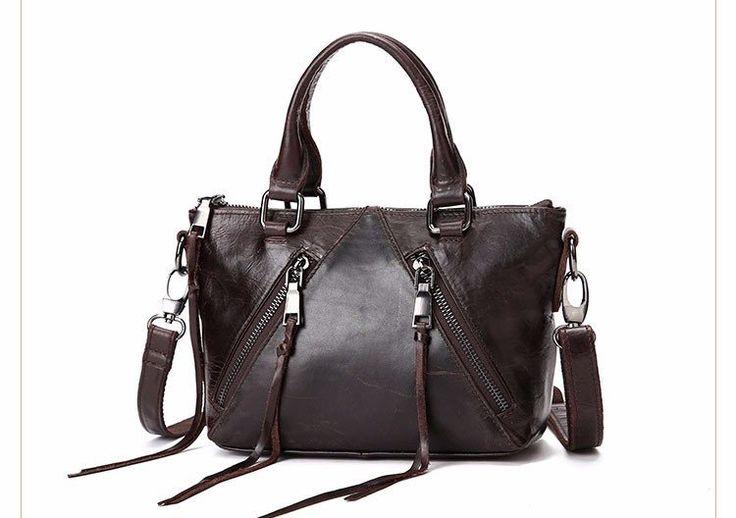 Fashion Women Casual Vintage Messenger Bag Shoulder Crossbody Bag Genuine Leather