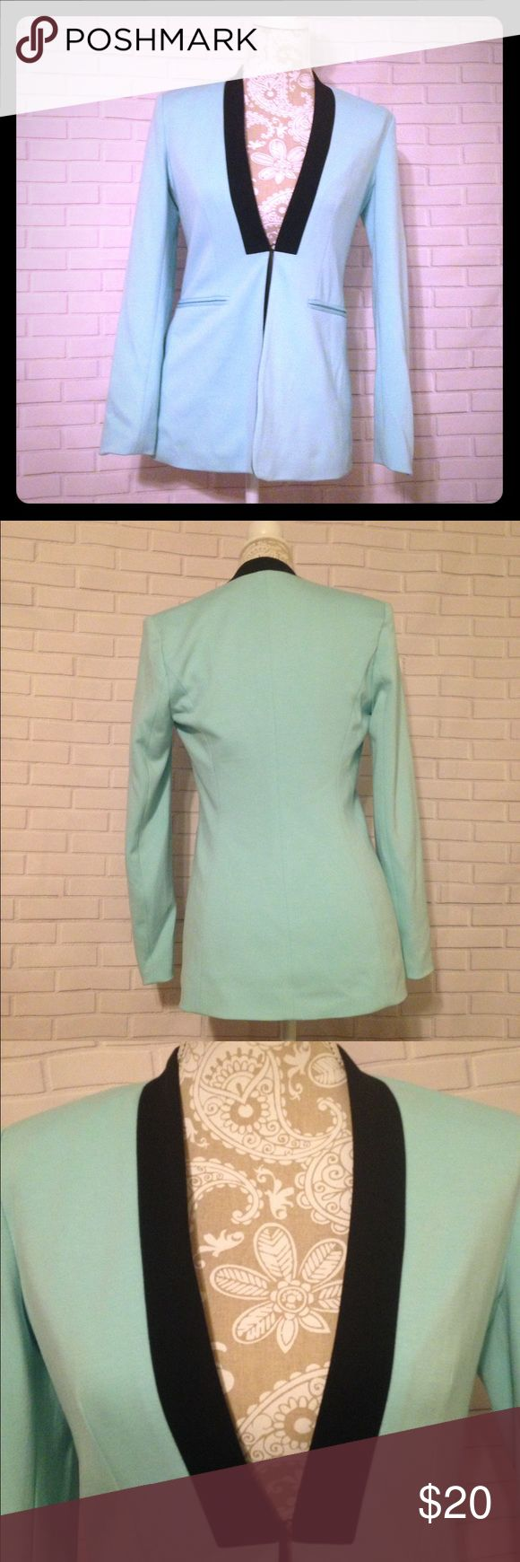 Boston Proper Mint Green and Black Blazer. Size 2 Excellent used condition. Boston Proper. Color is mint green. Faux pockets. Shoulder pads. Only 1 hook for closure on the front. Please refer back to the pictures for more details. Thank you for visiting my closet! Boston Proper Jackets & Coats Blazers