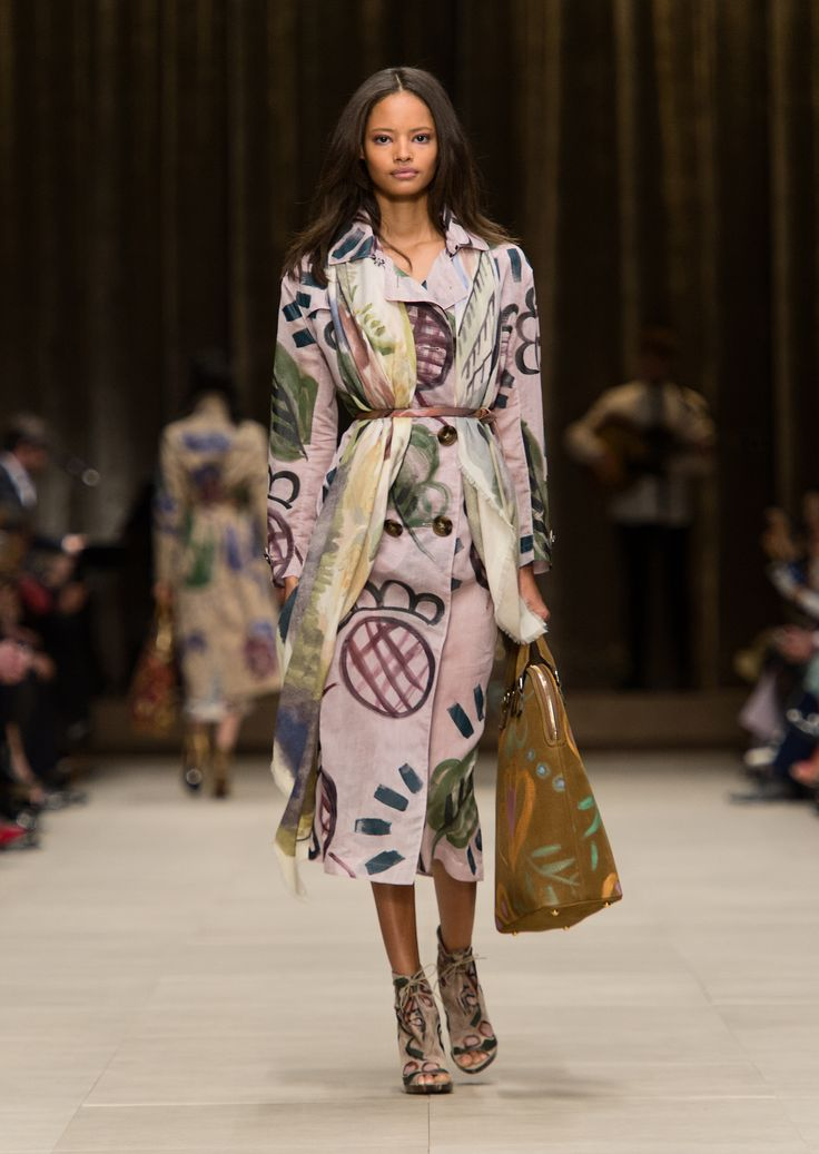 Love Burberry's patterned pieces for Autumn Winter 2014. Lavender grey hand-painted trench coat with a floral landscape cashmere scarf and The Bloomsbury bag