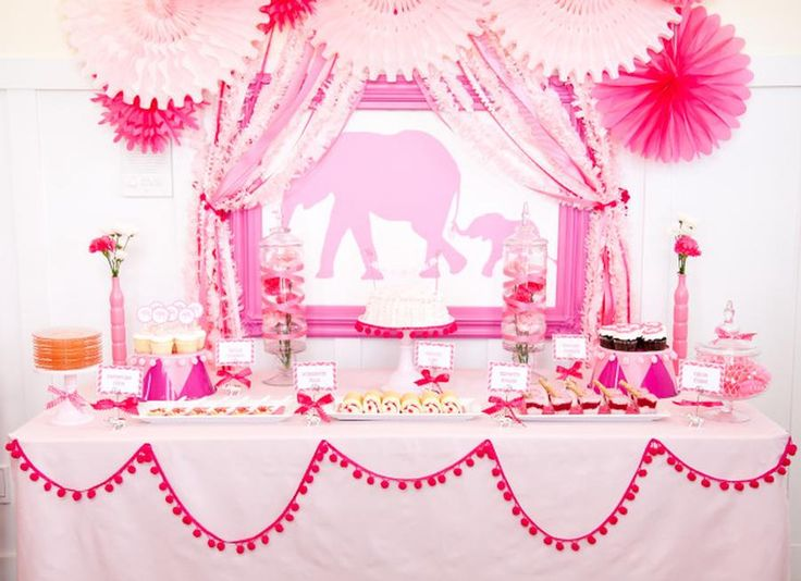 Girls Pink Elephant Party / BabyshowerShower Ideas, Baby Shower Theme, Elephant Baby Shower, Pink Elephant, Baby Girls, Parties Ideas, Pom Pom, Pink Parties, Baby Shower