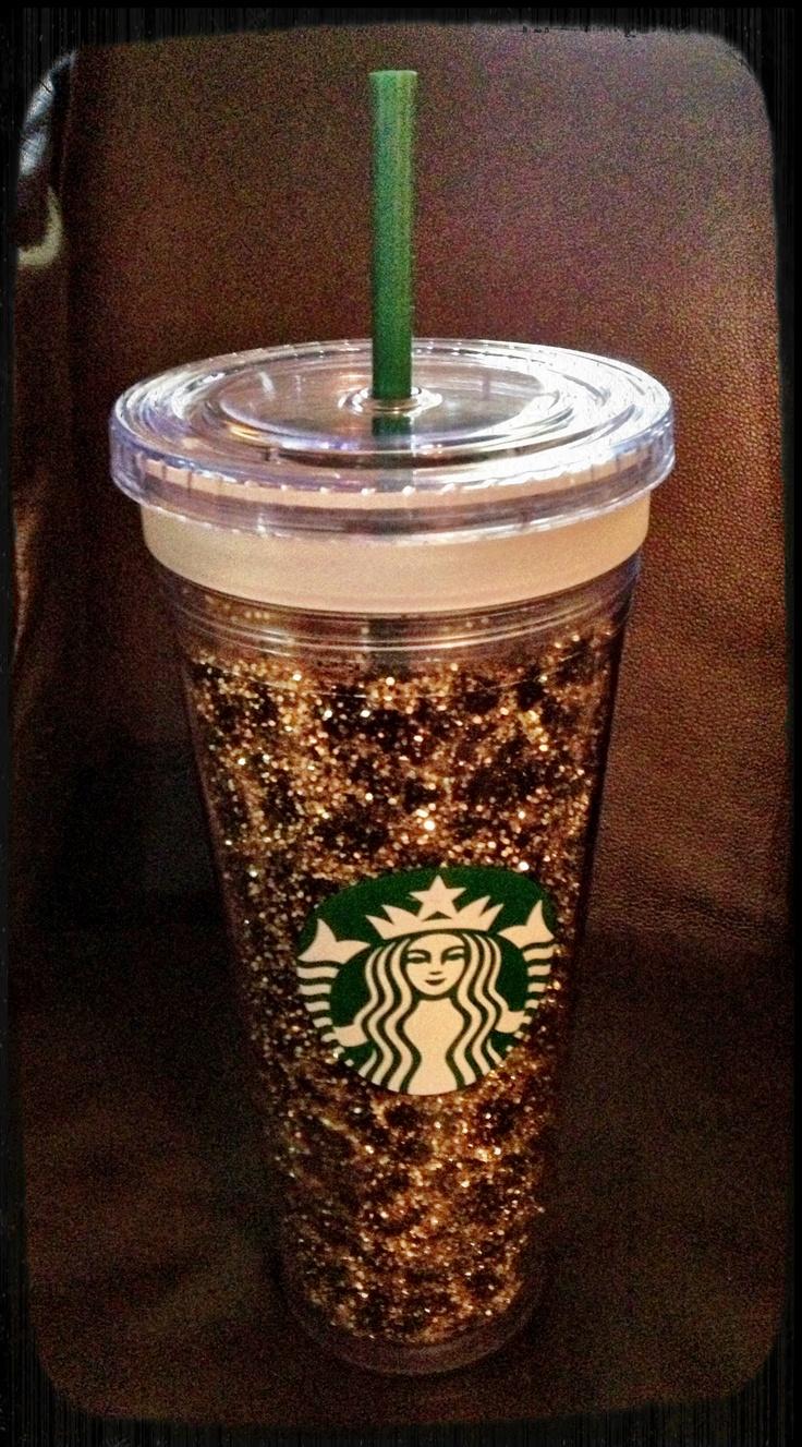 Glittered starbucks cup diy pinterest