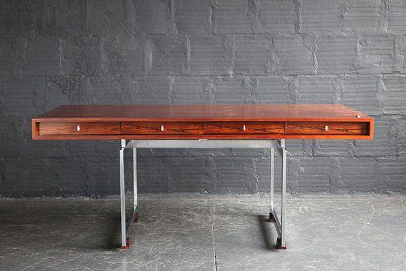 Bodil Kjær for E Pedersen & Søn Rosewood and Chrome Desk on Etsy, $20,000.00