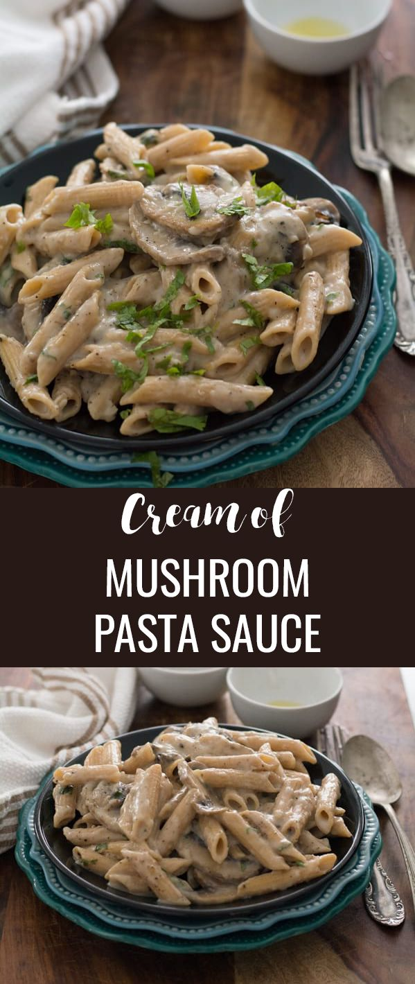 Cream of mushroom pasta sauce-a great week night meals for families. Made in one pot with milk, olive oil, pepper and cilantro under 20 minutes. This pasta sauce is tasty and flavorful. And that it can be customized to your individual preference. #mushroom #pasta #dinnertime