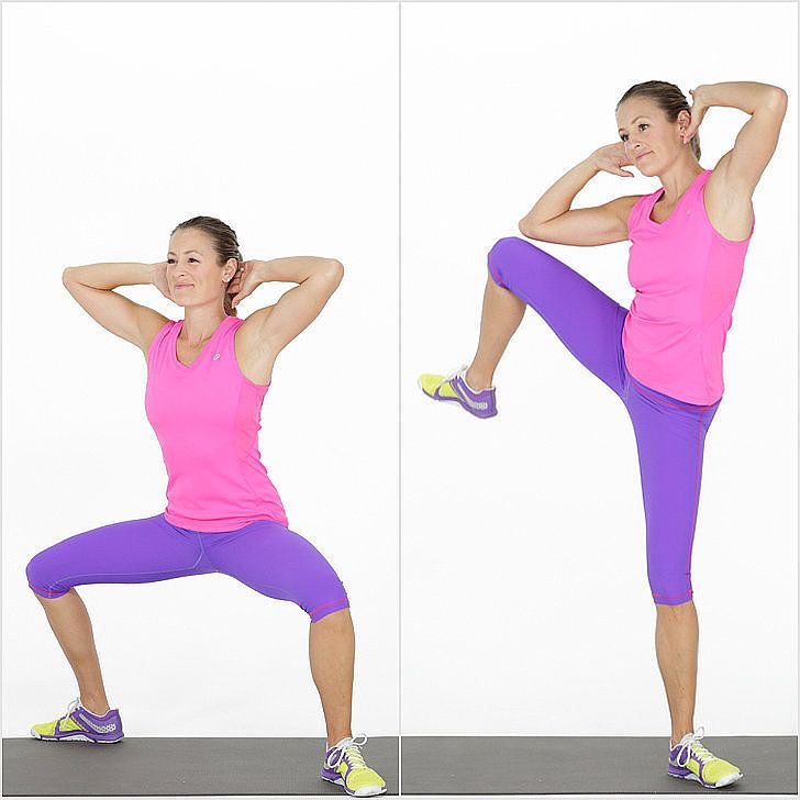 Bodyweight Exercise For the Butt | Sumo Squat Side Crunch | POPSUGAR Fitness