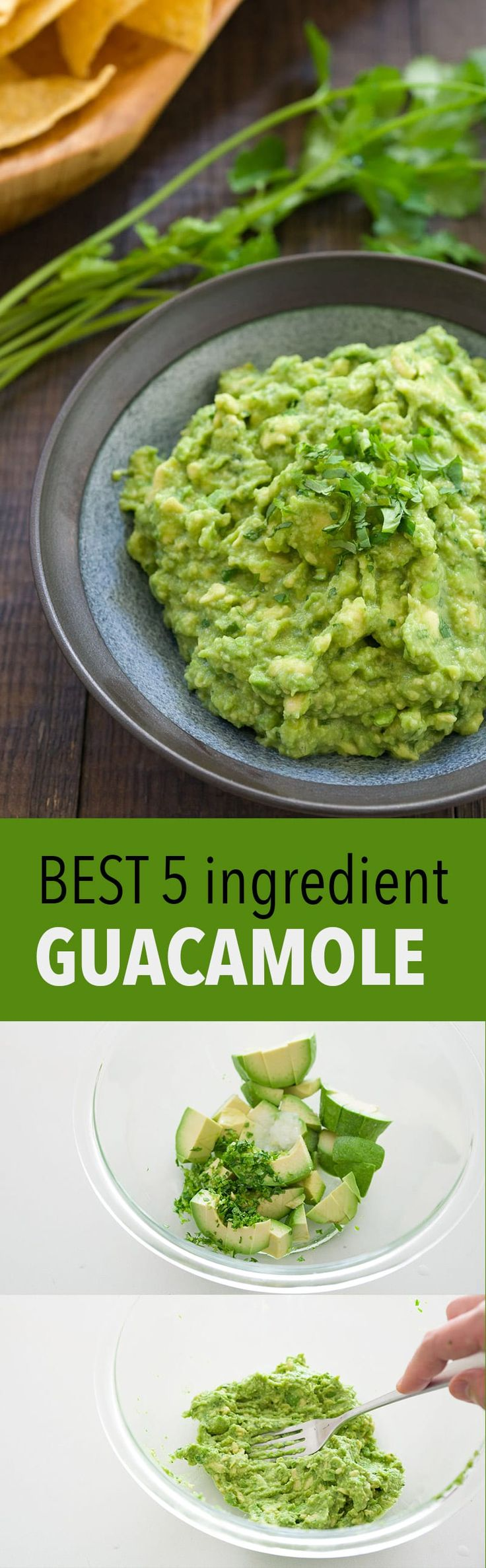 This awesome guacamole only has 5 basic ingredients and takes less than 5 minutes to make!