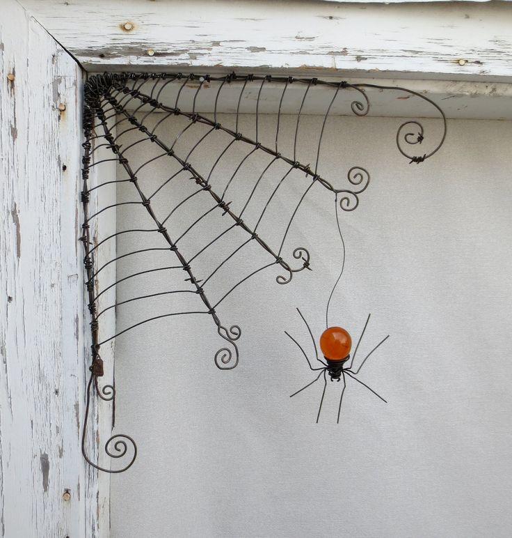 """18""""  Barbed Wire Corner Spider Web With Orange Spider. $56.00, via Etsy."""