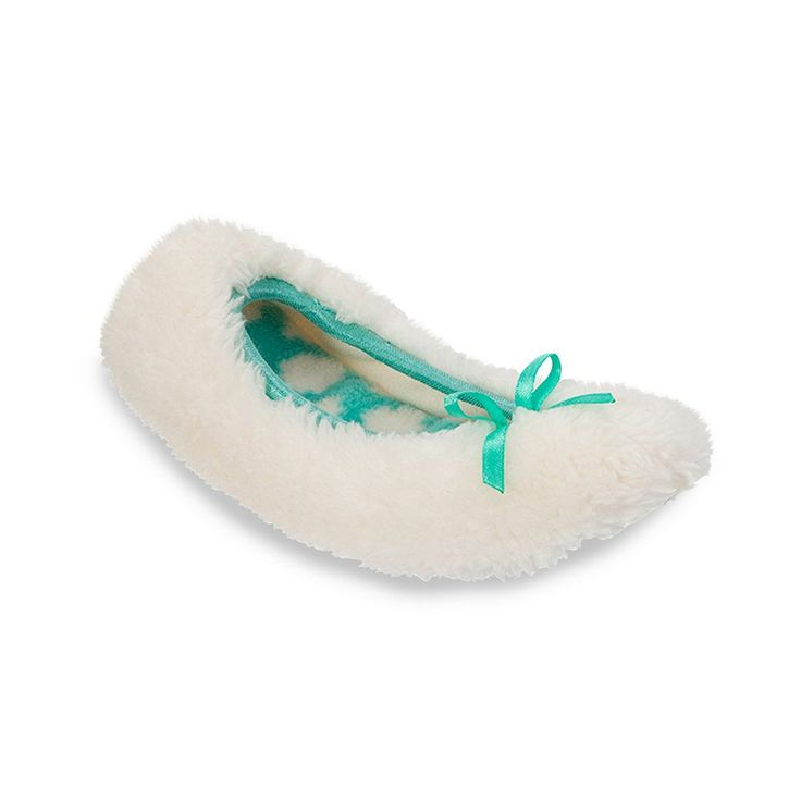 Dearfoams Girls' Fuzzy Ballerina Slippers, Size: 11-12, White Oth