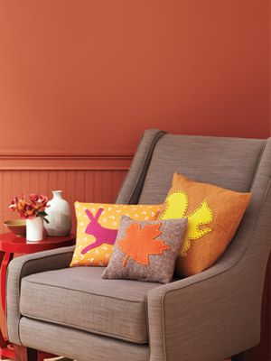 Update ordinary throw pillows with felt designs in the colors and shapes of the season.