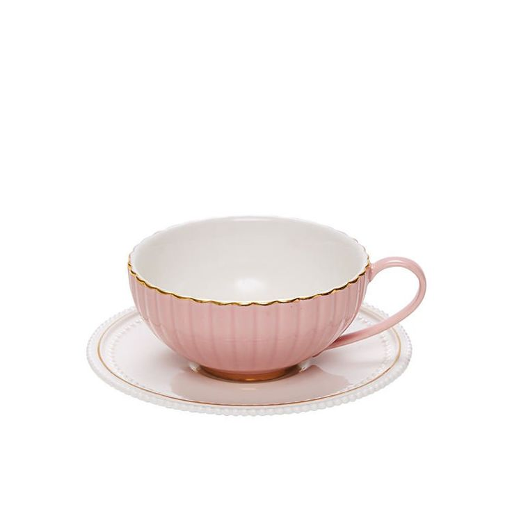 Salt & Pepper Eclectic Teacup & Saucer 250ml Pink  - Fast Shipping