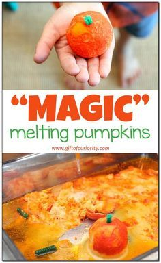 """Magic"" melting pumpkins {Halloween science and fine motor activity}"
