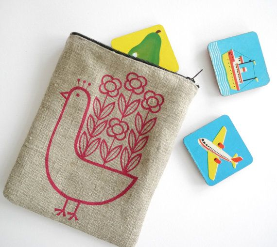 Screen Printed Linen Peacock Purse Pouch by Jane Foster Scandinavian design apple