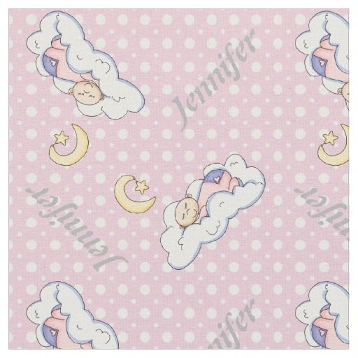 Sleeping baby girl and pink polka dot nursery fabric with personalized name. #fabric   #babygirl   #polkadots   #pink   #personalized