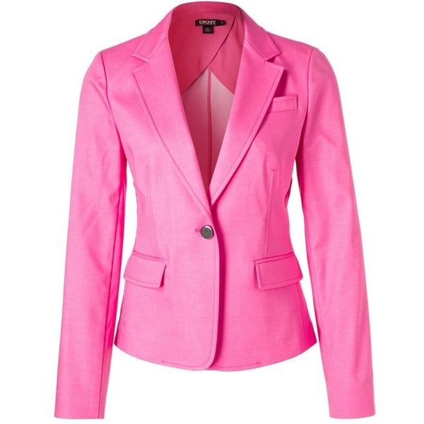DKNY Blazer (1805 MAD) ❤ liked on Polyvore featuring outerwear, jackets, blazers, blazer, pink, dkny, pink jacket, dkny blazer, pink blazer and blazer jacket