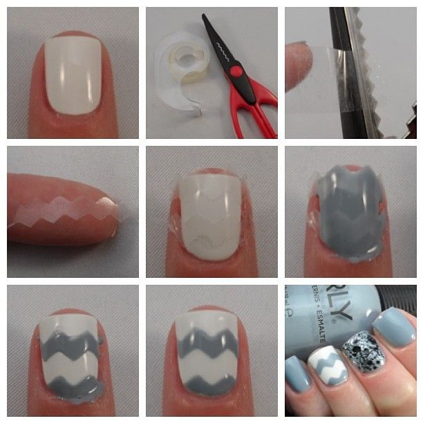 How to Chevron ! I have tons of these scissors from when I was little..Thinking of all the cool designs I could do on my nails..  Diy pattern nail polish with Deco cut scissors & tape.