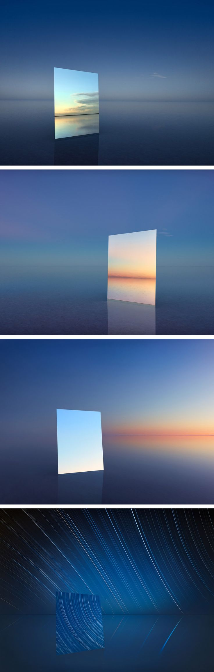 Saltscapes: Mirrors Reflect the Sky in an Australian Salt Flat Lake