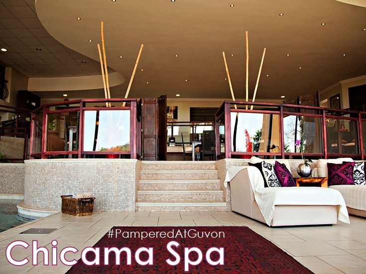 """The award-winning Chicama Country Spa at Glenburn Lodge, in the heart of the Cradle of Humankind, is located in tranquil, scenic and calming surroundings with spectacular views from every angle. Our """"Vineyard"""" theme and décor is complemented with the use of Theravine products. #PamperedAtGuvon #atGuvon #lounge"""