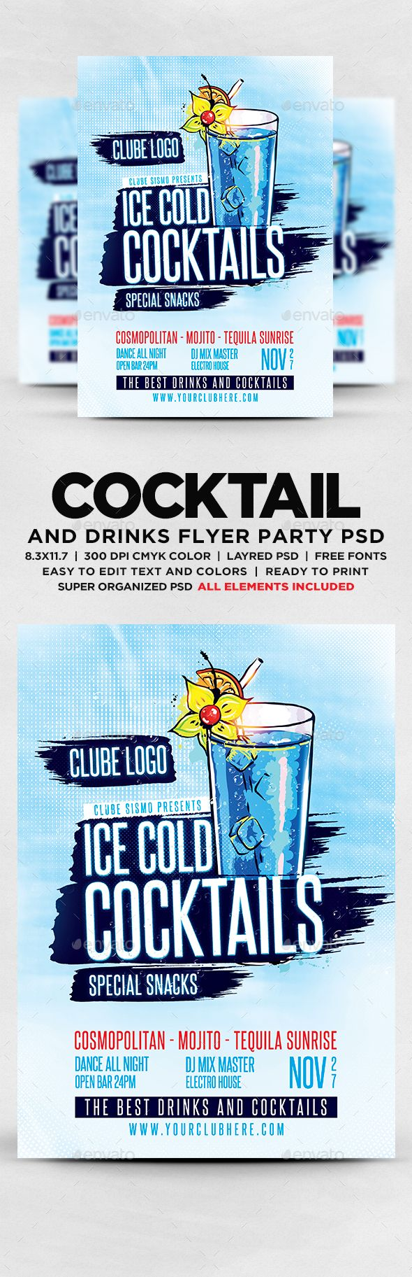 Ice Cold Cocktails Party Flyer Template PSD