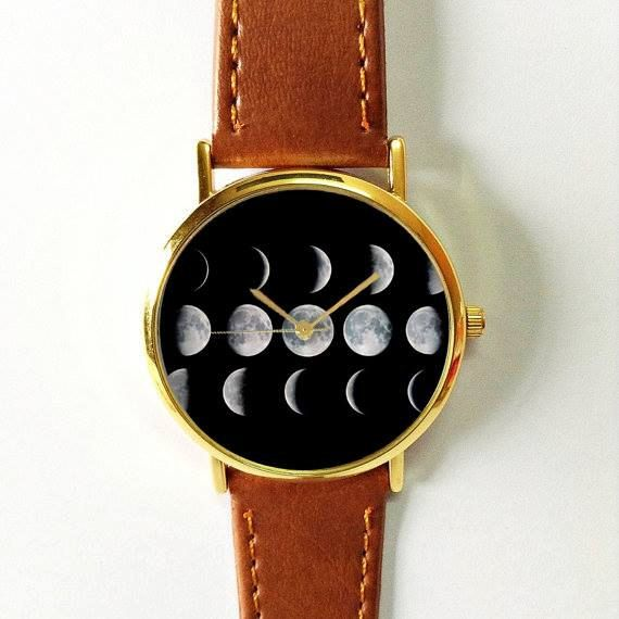 Moon Phases WatchVintage Style Leather Watch Women WatchesUnisex WatchBoyfriend WatchMen's WatchYellow Black Gray White watch women watch leather watch handmade wrist watch accessories gifts unique girlfriend mother milky way galaxy back to school necklace ring charm print choker shirt 12.00 USD #goriani