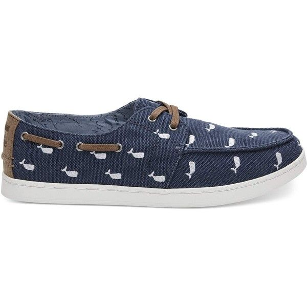 TOMS Oceana Washed Canvas Embroidered Whale Men's Culver Boat Shoes (3.900 RUB) ❤ liked on Polyvore featuring men's fashion, men's shoes, men's loafers, navy, mens canvas deck shoes, mens canvas boat shoes, mens leopard print shoes, mens clear shoes and mens shoes