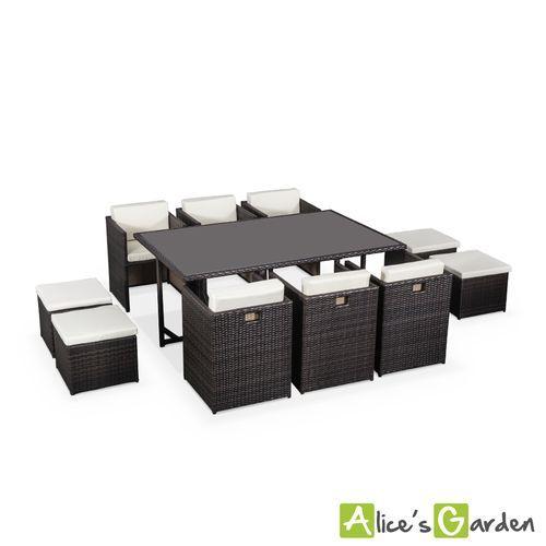 salon de jardin table en rsine tresse chocolat 6 10 places encastrable toscana fauteuil - Salon De Jardin Mtal Color