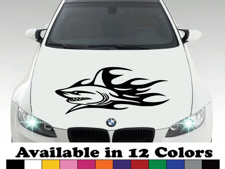 Large shark flames decal car body decal bumper sticker hood decalwall