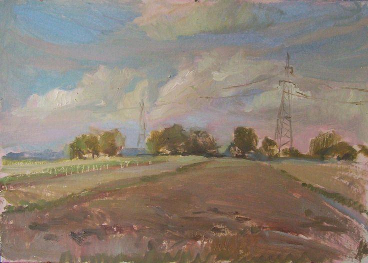 Towering pylons, oil on card