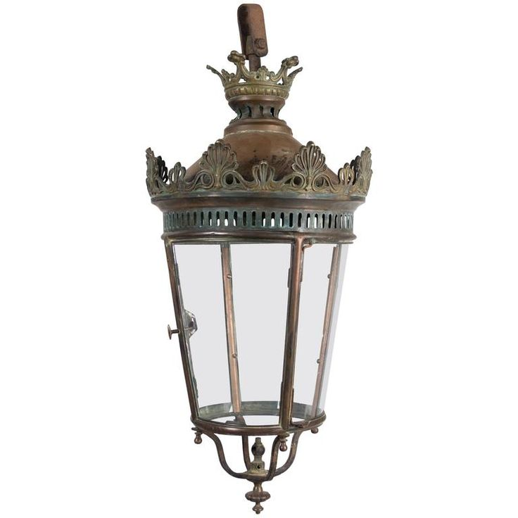 19th Century French Bronze and Copper Lantern | From a unique collection of antique and modern lanterns at https://www.1stdibs.com/furniture/lighting/lanterns/