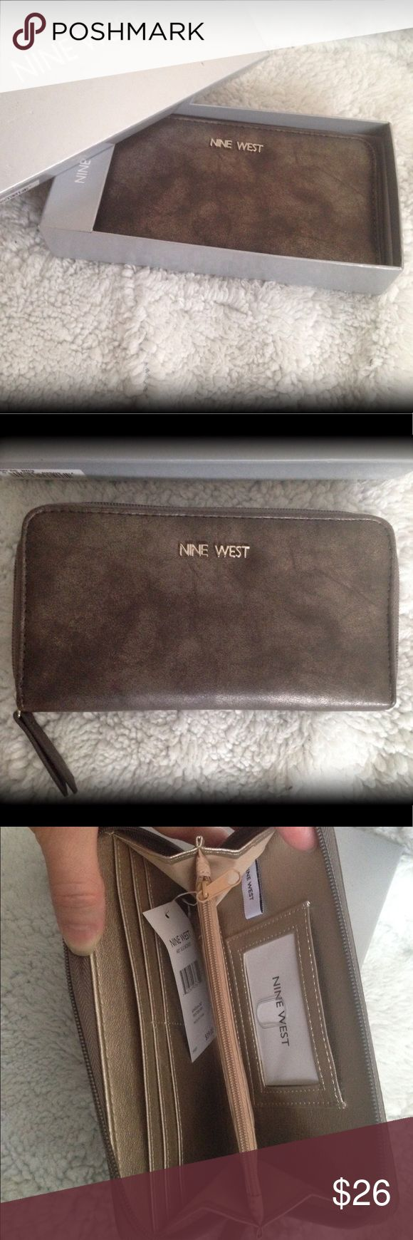"""Stylish Nine West wallet Goldfish bronze colors. Gold inside. Credit card slots, zipper and open pockets inside. Approx 4 ½"""" x 8"""". Nine West Bags Wallets"""