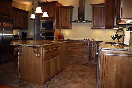 Coffee Glazed Maple Cabinets With Tile And Granite For