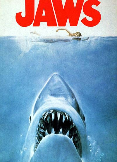 Shark Film Posters: Jaws one of the most famous and easily recognisable movie posters of all time.. bet your thinking about that music!