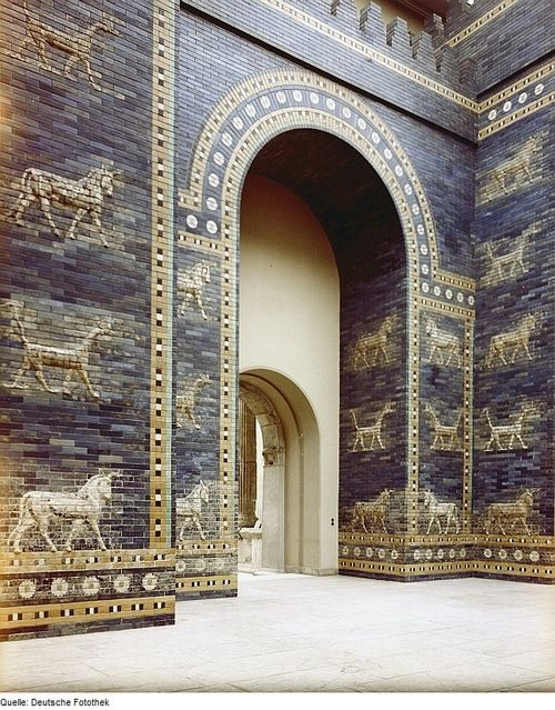 The Ishtar Gate was the eighth gate to the inner city of Babylon. It was constructed in about 575 BC, and edicated to the Babylonian goddess Ishtar